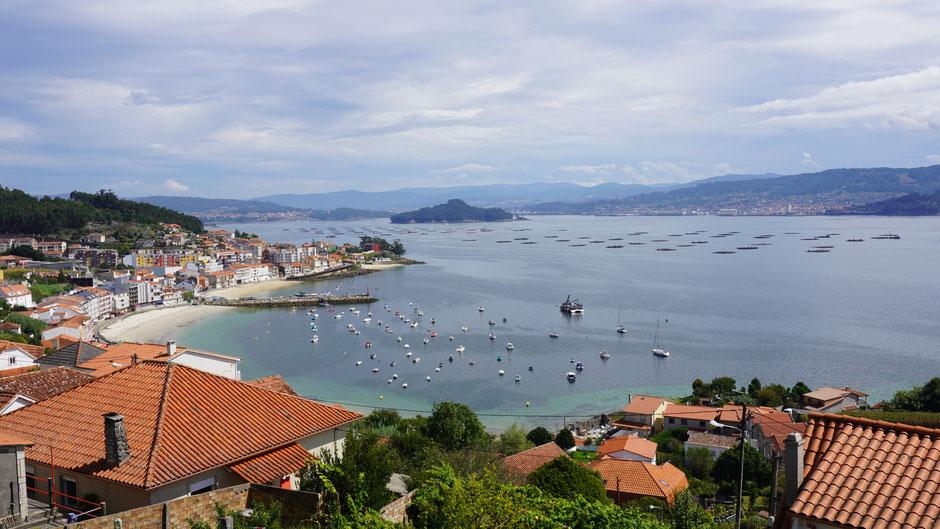 Bucht von Ponteverde mit Fischzuchtplattformen und ein paar bunten Booten