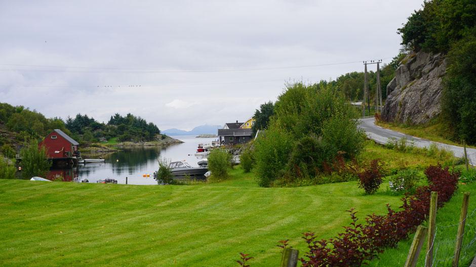 Gepflegtes Grün am Ende des Fjordes