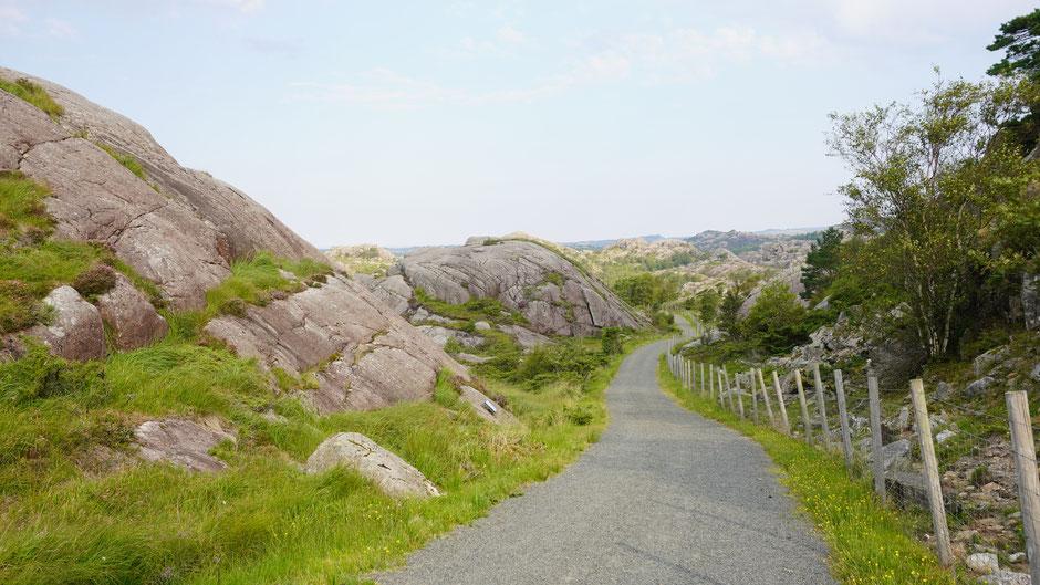 Zwischen Felsmugeln geht es in einem Auf und Ab auf einer Naturstraße dahin