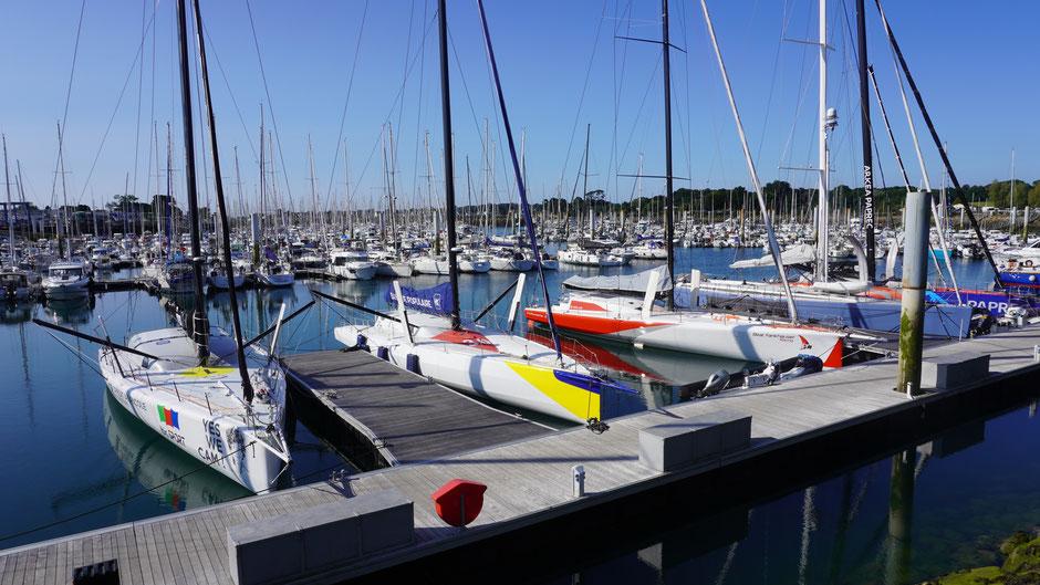 Rennboote, im Hafen noch auf gleicher Höhe ...