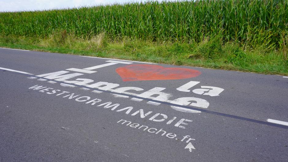 Werbung für das lokale Departement der Region: La Manche, benannt nach dem Ärmelkanal.