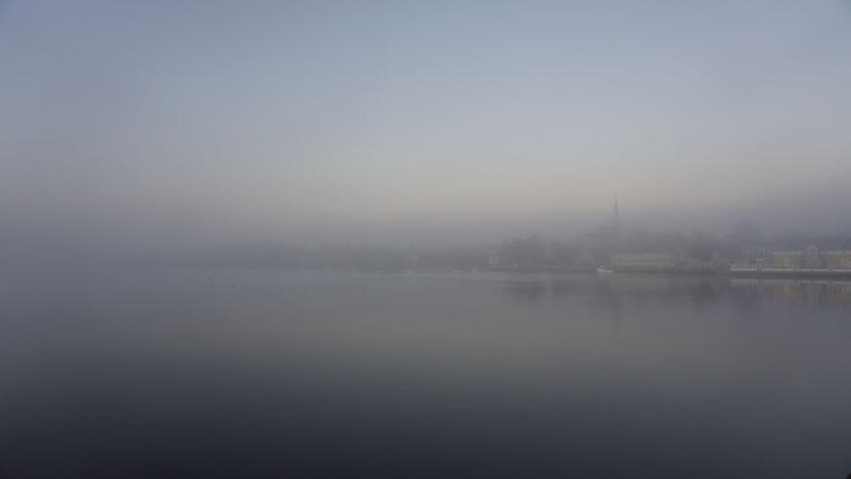 Kristinestad am Morgen - dichte Nebelsuppe