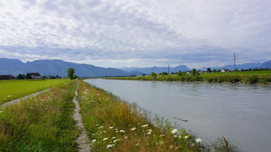 Im Rheintal noch schnell einen Blick zurück auf die Hausberge
