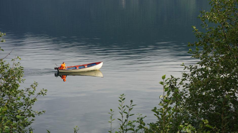 Ein Spiegelboot mit Haifischmaul