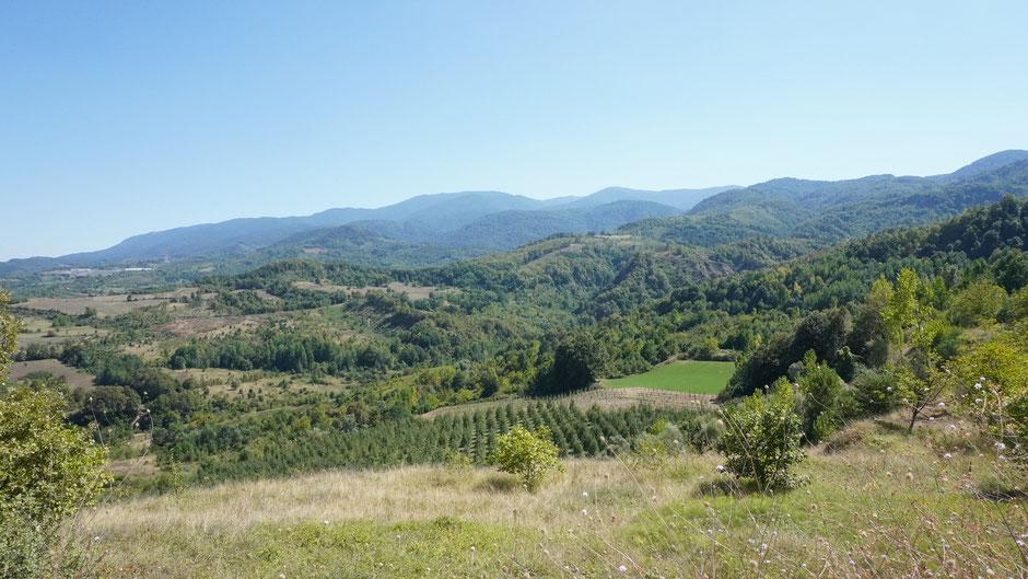 Viele bewaldete Hügel und kaum Dörfer