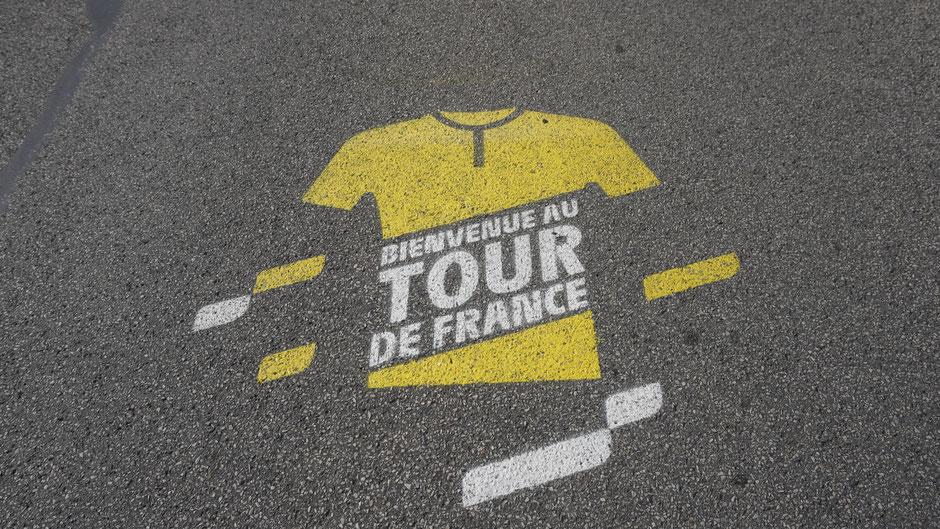 Auf der Strecke einer Tour de France Etappe