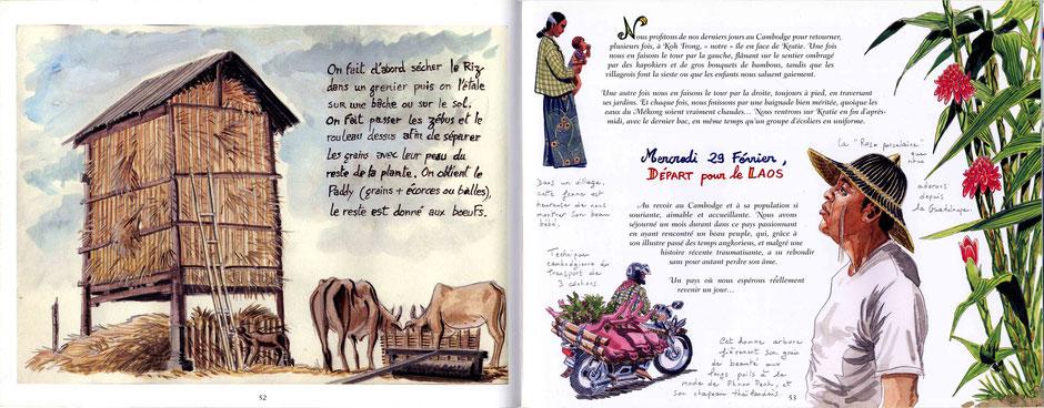 """De Kratie au Cambodge, départ pour le Laos. Extrait de"""" Carnet de Thaïlande, Cambodge et Laos, voyage en Asie du Sud-Est""""."""