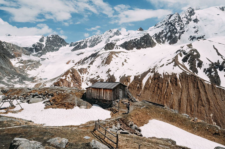 Weißkugelhütte (Bergstation der Materialseilbahn)
