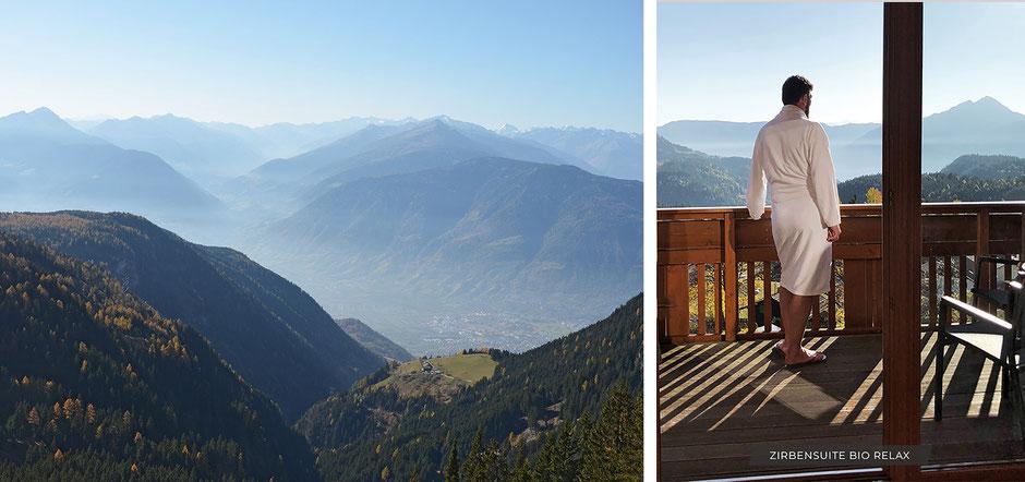 beste Aussicht vom Balkon der Zirbensuite Bio Relax, Hotel Chalet Mirabell, Sonnenplateau Hafling-Vöran-Meran2000