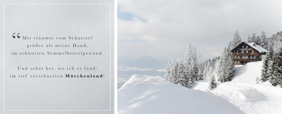 Wintermärchen in Tirol, Rodelwanderung zum Alpengasthof Loas mit dem größten Wiener Schnitzel Tirols