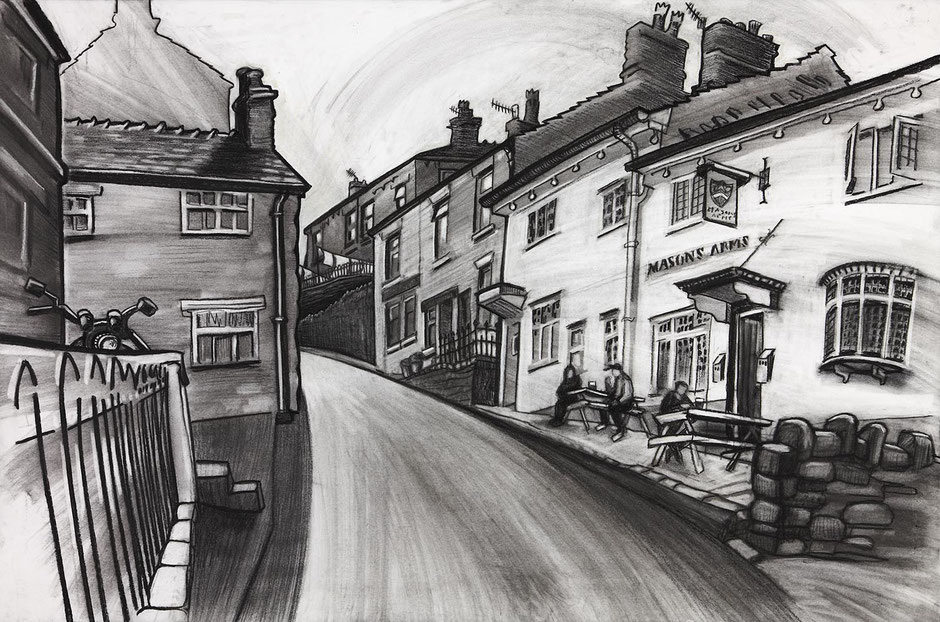 high street scene the masons arms new mills high peak derbyshire fine art print uk contemporary art