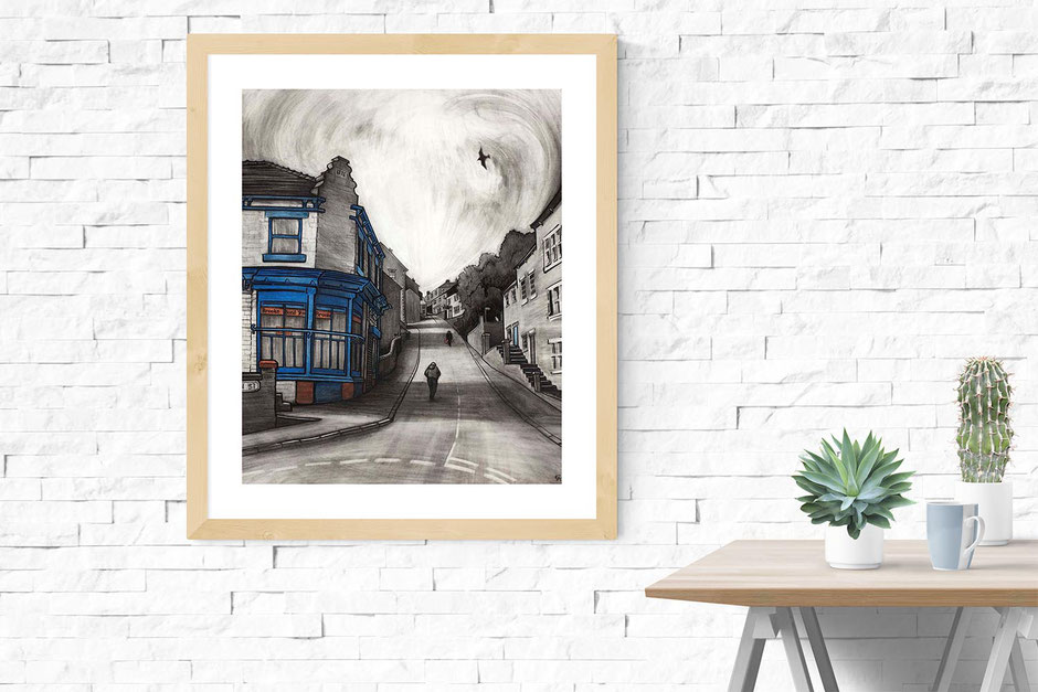 blue rons corner shop high street new mills derbyshire fine art print from charcoal drawing
