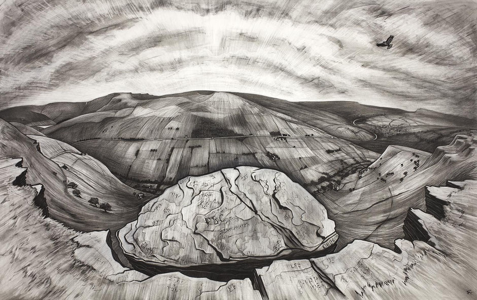 Big Stone chinley churn derbyshire kinder scout landscape charcoal drawing fine art print wallart decor