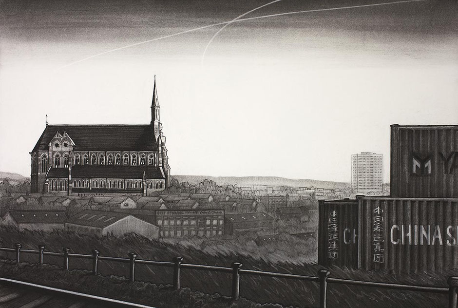 Gorton Monastery fine art print Manchester cityscape urban landscape charcoal drawing