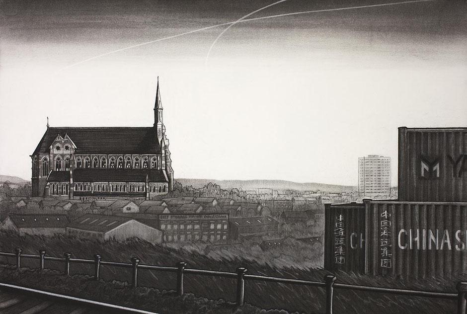 Gorton Monastery fine art print Manchester cityscape urban landscape charcoal drawing