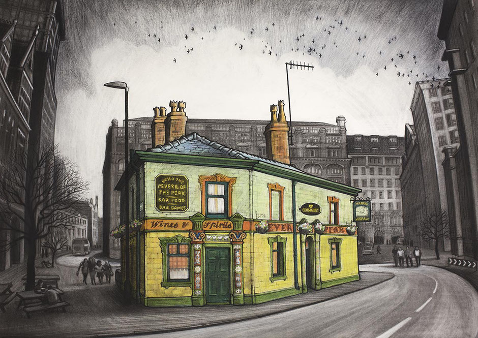 manchester art print peveral of the peak pub
