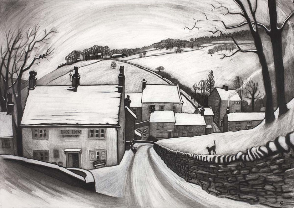 first snow brookbottom winter country snow scene art high peak derbyshire england fox inn