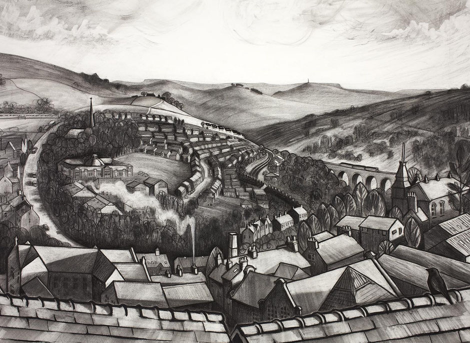 Leygate View new mills high peak derbyshire fine art charcoal drawing townscape print derbyshire artist