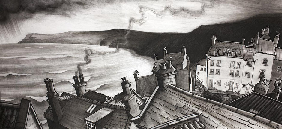 Robin Hoods Bay north yorkshire coast fishing village seascape charcoal drawing fine art print