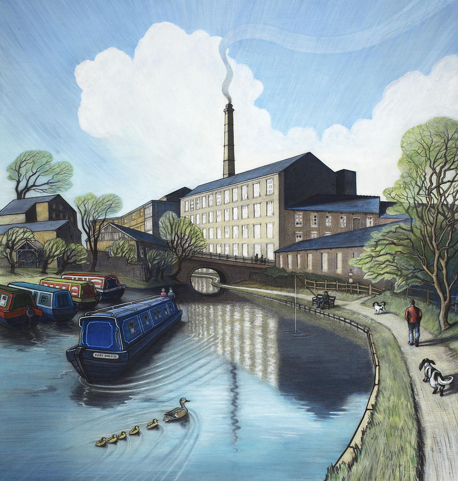 peak forest canal boat new mills art