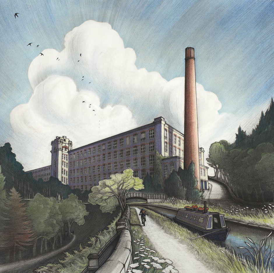 Clarence Mill Macclesfield Canal Cheshire Fine Art Drawing Print