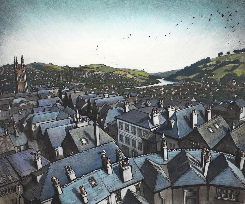 the river dart totnes castle devon rooftops fine art drawing print