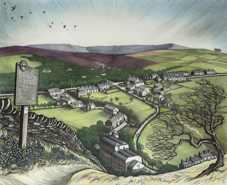 Little Hayfield from Lantern Pike Derbyshire Landscape Art Print