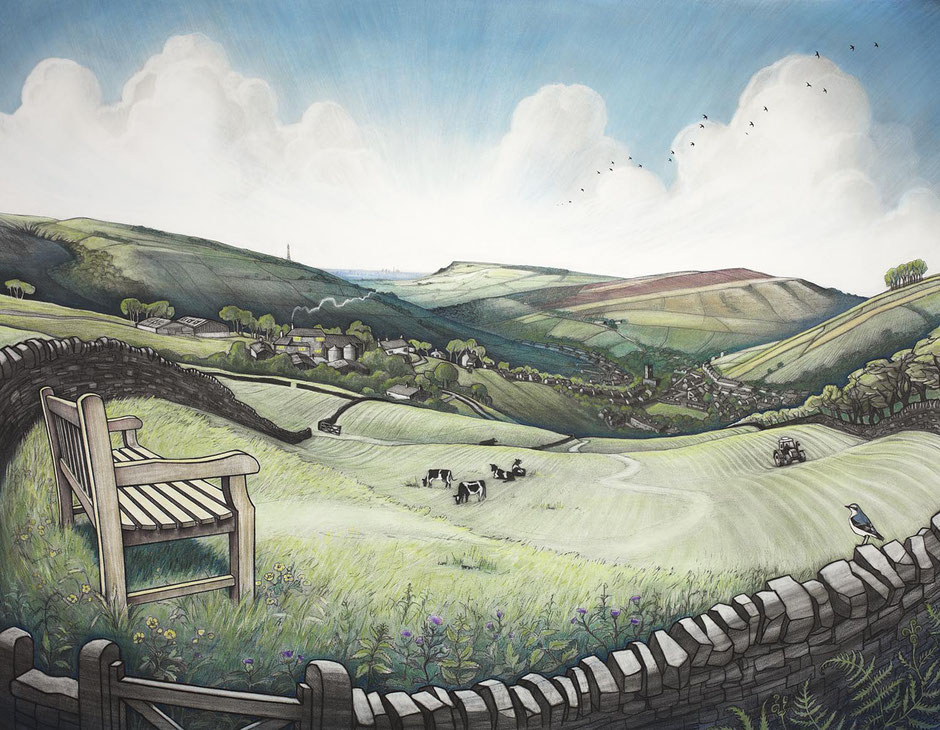 ruths view hayfield high peak derbyshire peak district national park fine art print hills and fields