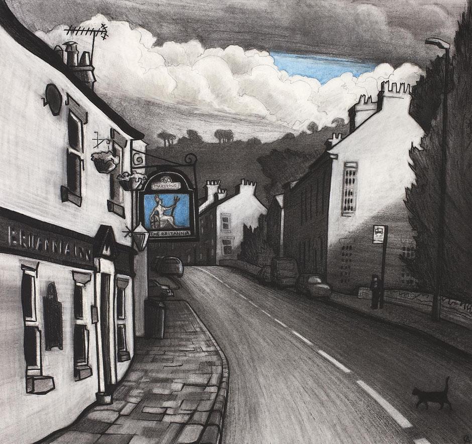 hurdsfield prestbury macclesfield cheshire britannia inn charcoal drawing fine art print