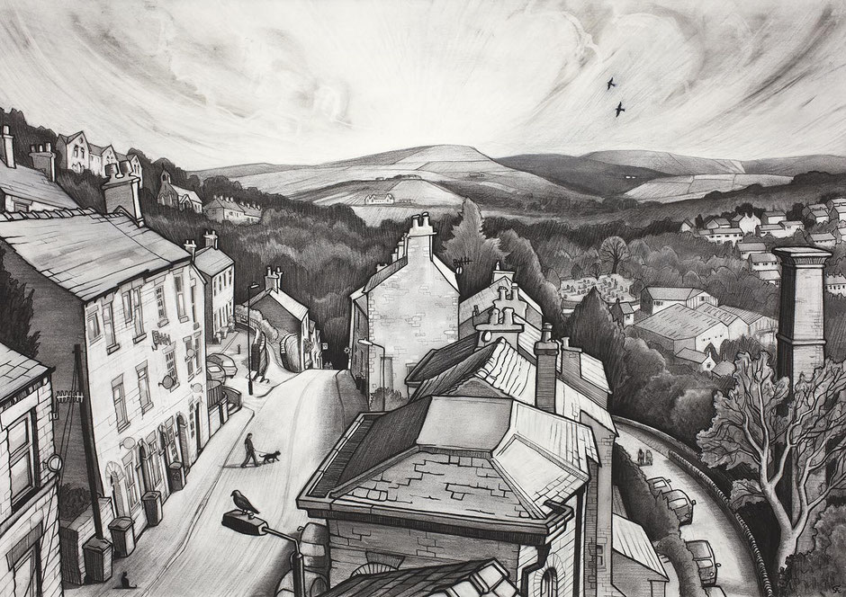 high street new mills high peak district derbyshire town landscape rooftop charcoal drawing wall fine art print uk contemporary art
