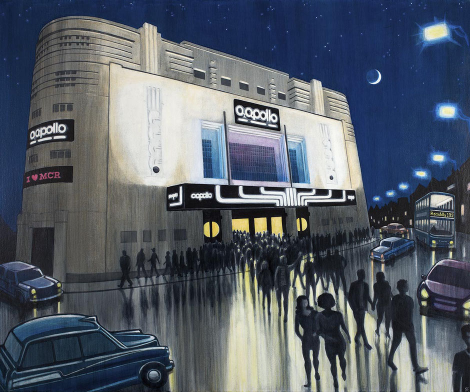 fine art print painting of the Manchester O2 apollo art deco live music venue Ardwick Green