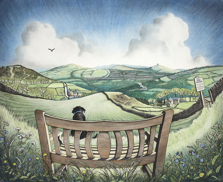 Memorial bench brookbottom derbyshire looking towards Disley and Lyme Cage fine art print
