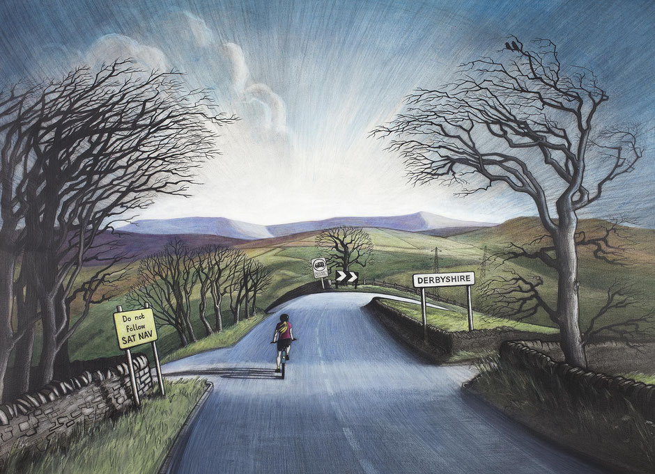 over the tops derbyshire art print high peak cycling