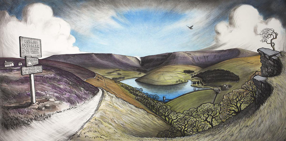Kinder Scout charcoal and pastel drawing including kinder reservoir and shooting cabin