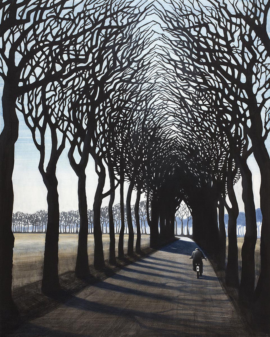 cathedral tree bike bicyle road art print
