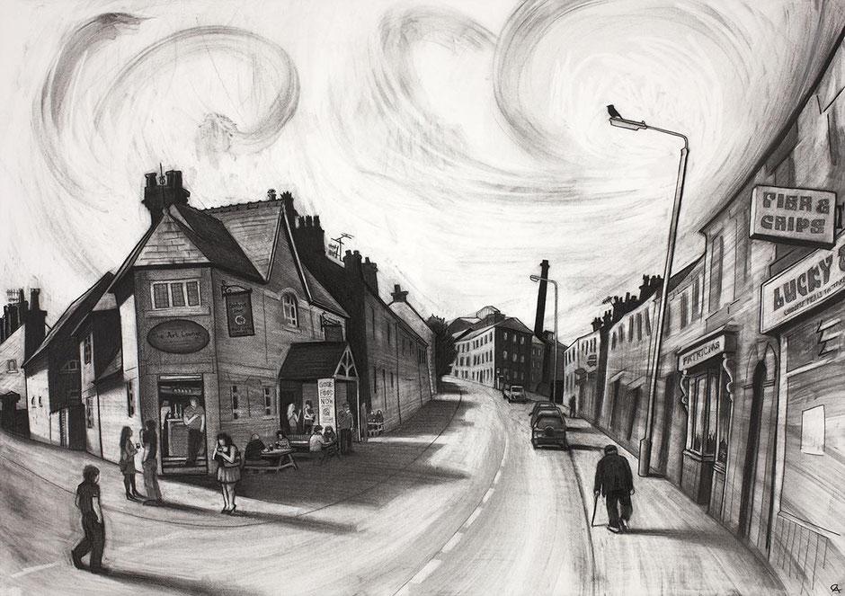 beehive pub albion road new mills high peak derbyshire swizzels matlow fine art print