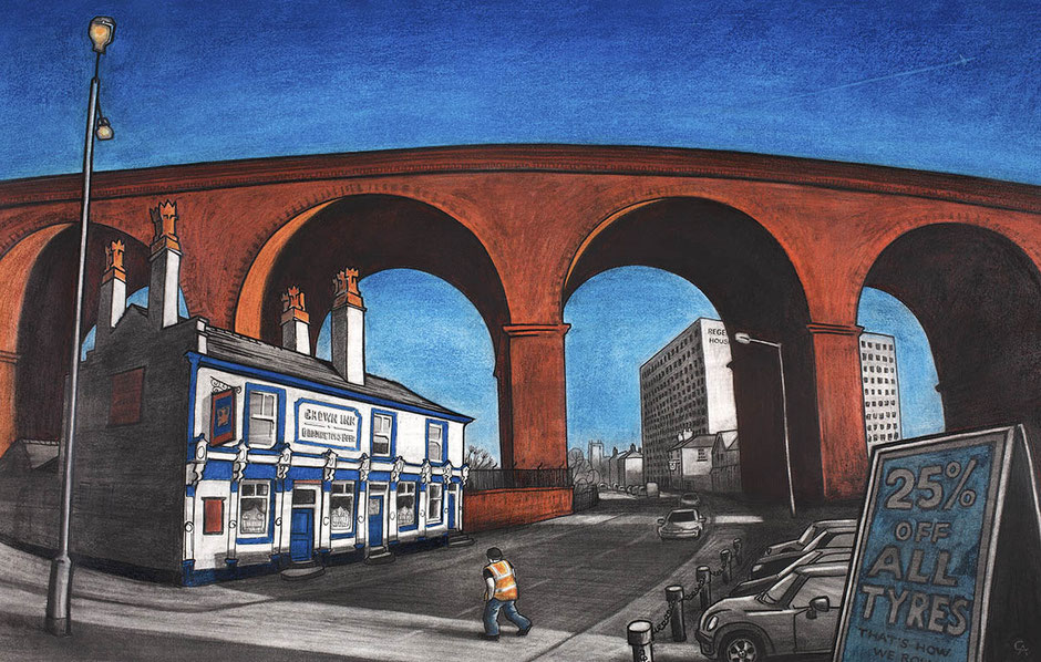 fine art print the crown inn stockport railway viaduct cityscape urban landscape street scene cheshire
