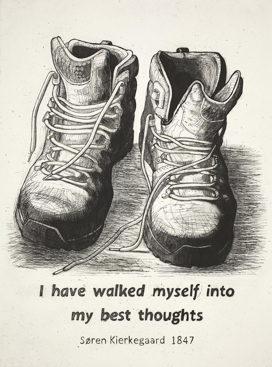 walking boots etching