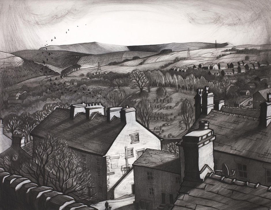 behind the masons arms pub high street new mills high peak derbyshire town landscape wall art charcoal fine art kinder scout