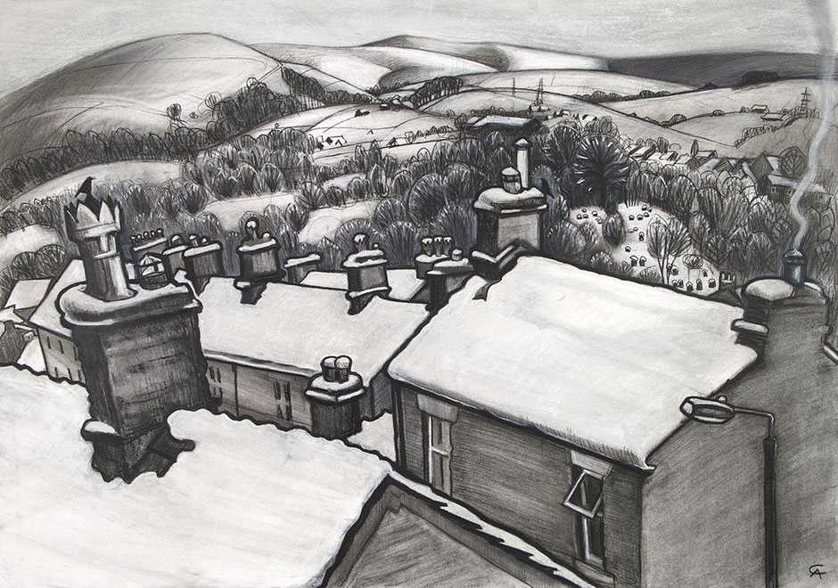 When it Snowed new mills high peak derbyshire england rooftop country snow winter scene fine wall art