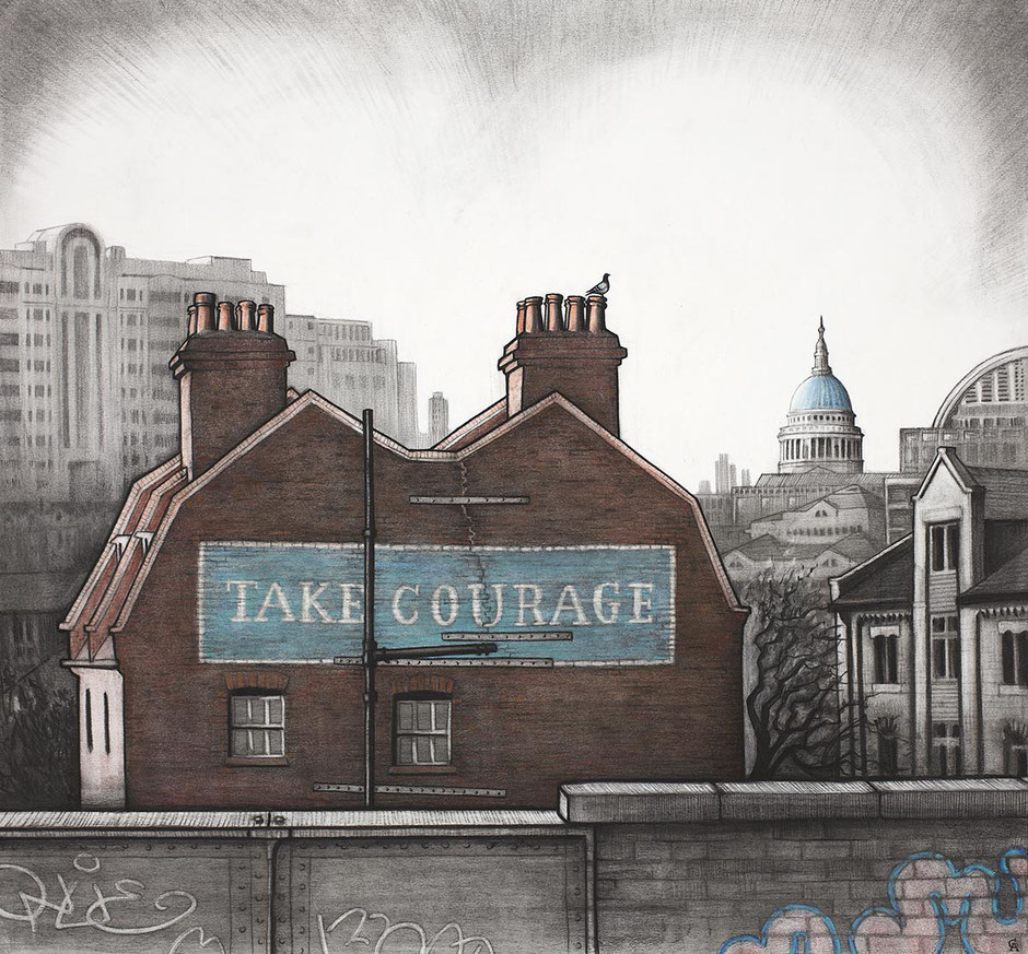 Take Courage inspirational quote brewery beer london city scene urban cityscape fine art print