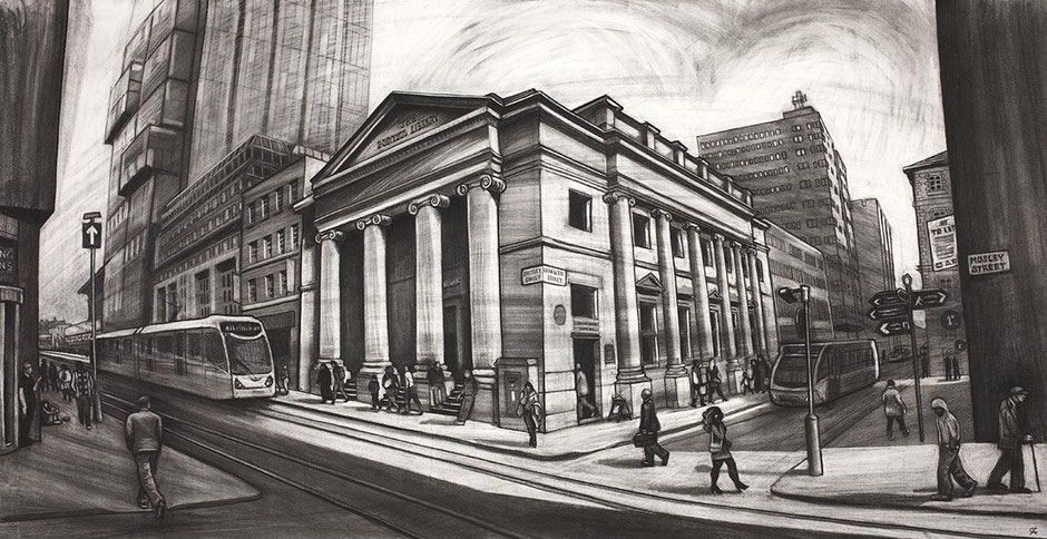 Charcoal drawing of Portico Library and Bank Pub Mosely Street, Manchester city centre cityscape urban landscape fine art print