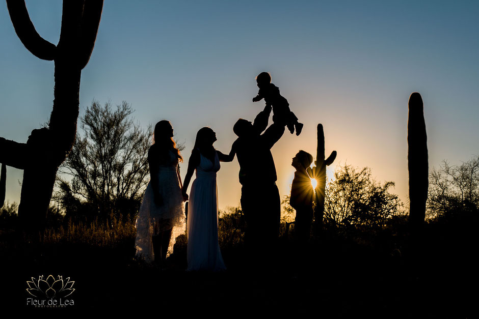 Tucson family photographer, silhouette photography, sunset, family portrait photographer, family portrait