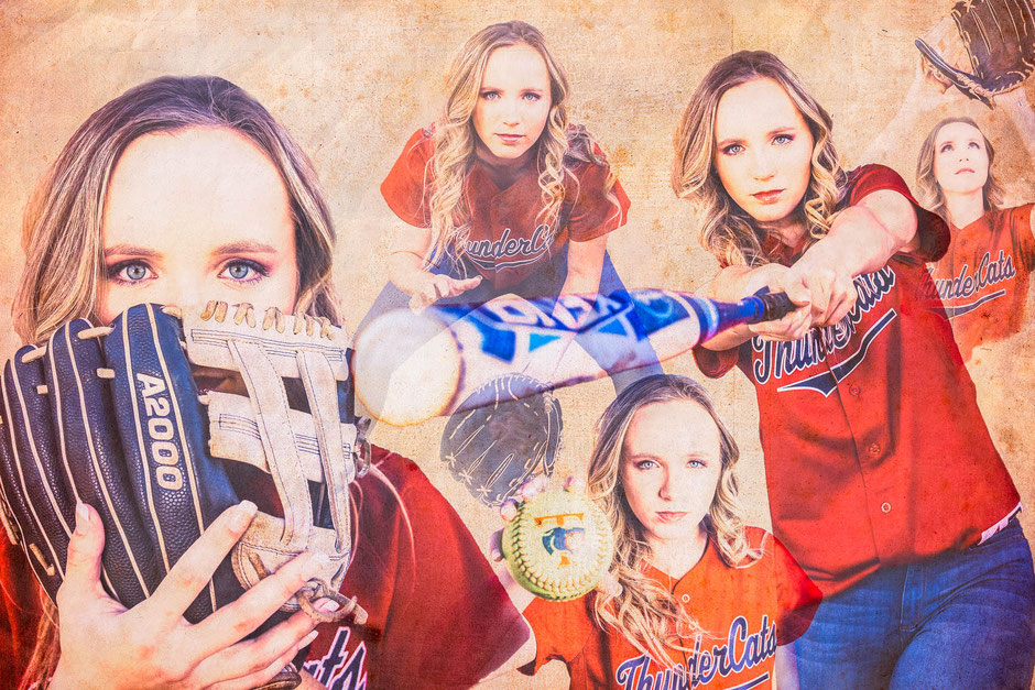 sports portraits, senior portrait photographers, senior portraits, softball collage, Thundercats