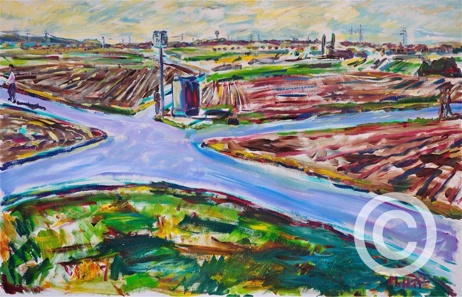 Felder bei Ludwigsburg - Solitudeallee/ Acryl auf Leinwand/ 120 cm x 100 cm