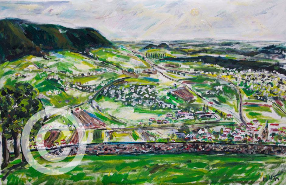 Schwäbische Alb - Blick auf Owen Acryl auf Leinwand/ 100 cm x 80 xm