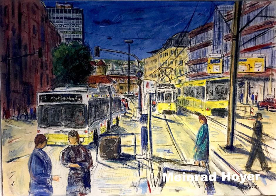 Stuttgart - Am Olgaeck/ Pastellkreide auf Leinwand/ 120 cm x 100 cm