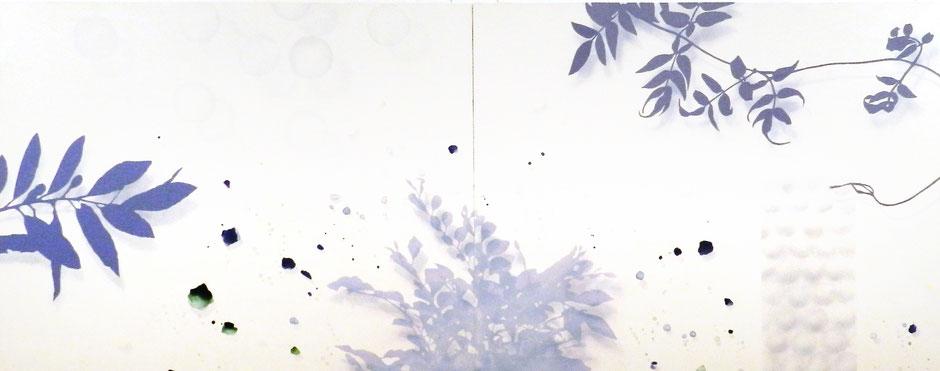 アクリル絵画 余白 表面 影