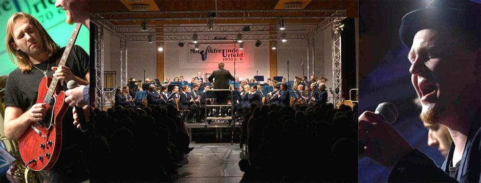 Yannick Richter an der Gitarre, das große Orchester der Musikfreunde und Sänger Andreas Klassen (Fotos: Studio Honnen)