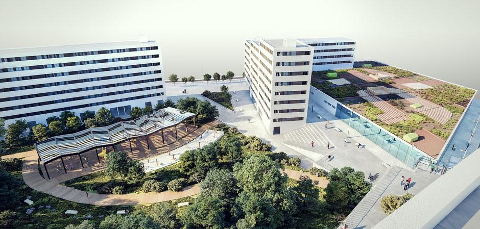 URBANIZACIÓN INTERIOR DEL AMBITO // Ascensor panoramico, parque infantil cubierto y zona deportiva para mayores